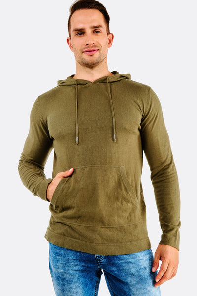 olive green fine knit cotton hoodie