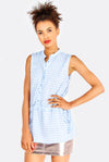 Blue Checkered Sleeveless Shirt