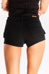 Black Shorts With Snap Details