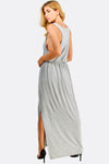 Light Grey Maxi Dress With Side Slit