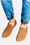 Beige Slip On Shoes With Leather