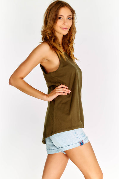 Military Green Loose Fit Top With Round Neck