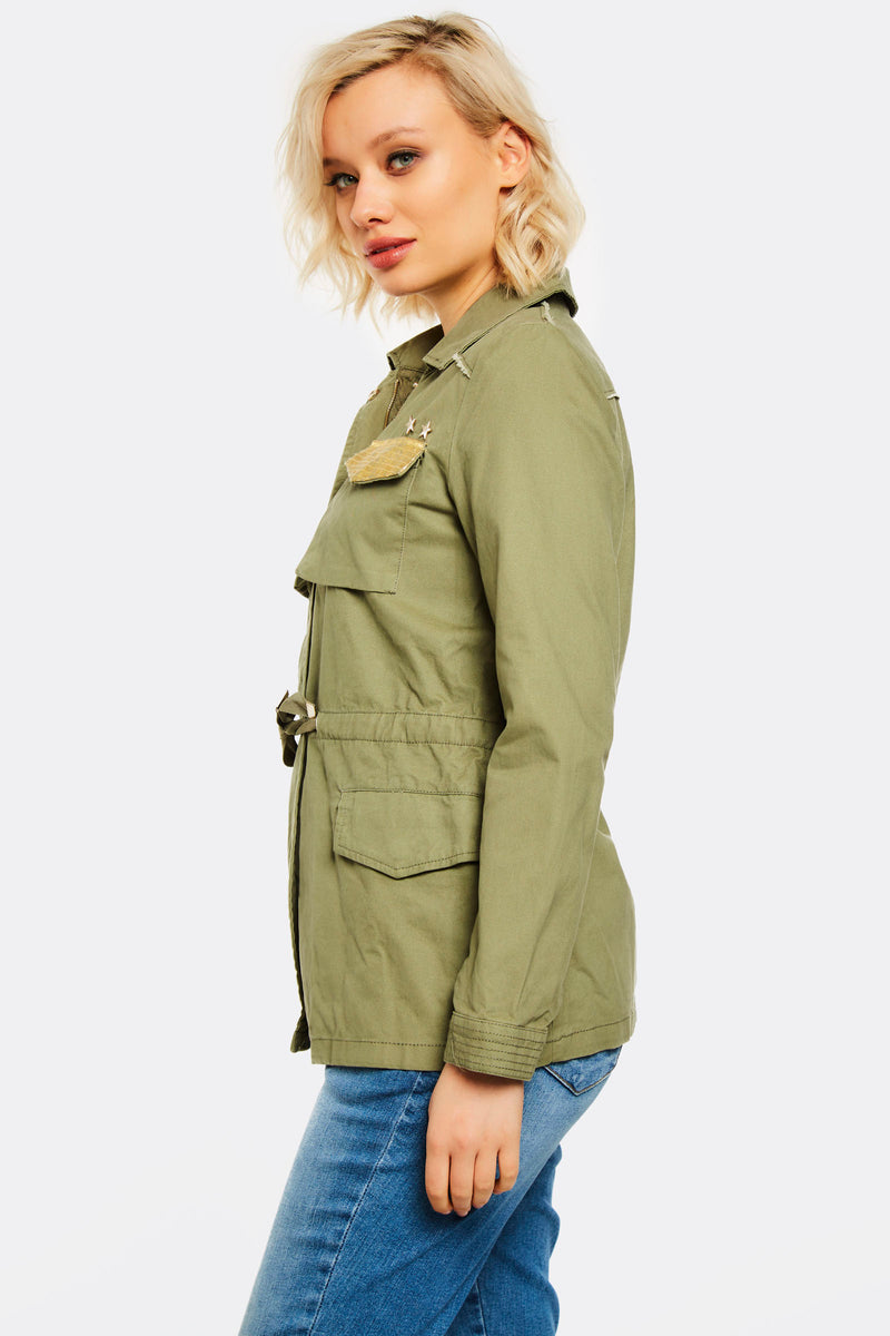 Military Green Jacket With Chest Pockets