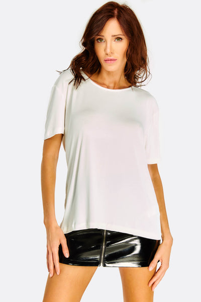 White T-Shirt With Back Cut Out