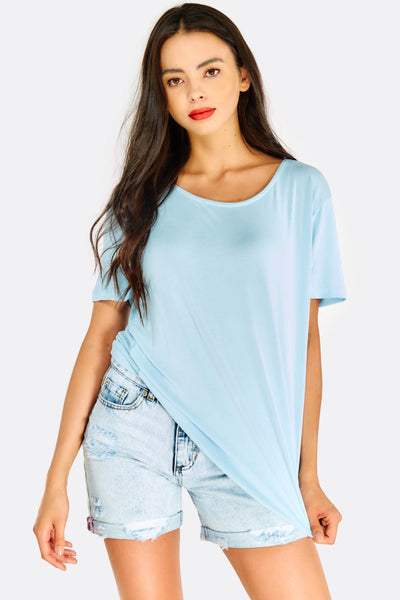 Pale Blue T-Shirt With Back Cut Out
