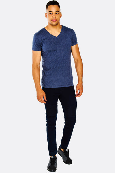 Dark Blue Jeans With Elastic Hems