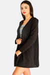 Long Black Blazer With Pleated Back
