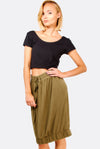 Military Green Skirt With Elastic Edges
