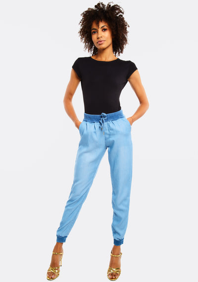 Light Blue Jeans With Elastic Hems