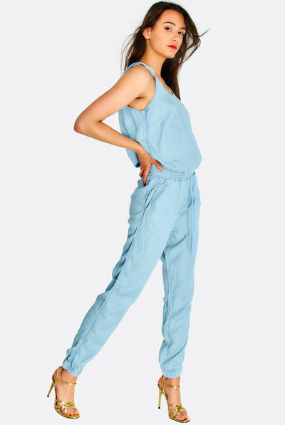 Light Blue Lyocell Jumpsuit