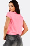Pink Printed Cotton Crop T-Shirt