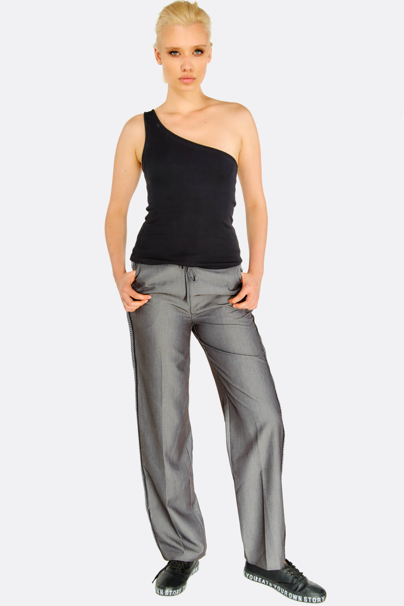 Grey Trousers With Side Detail