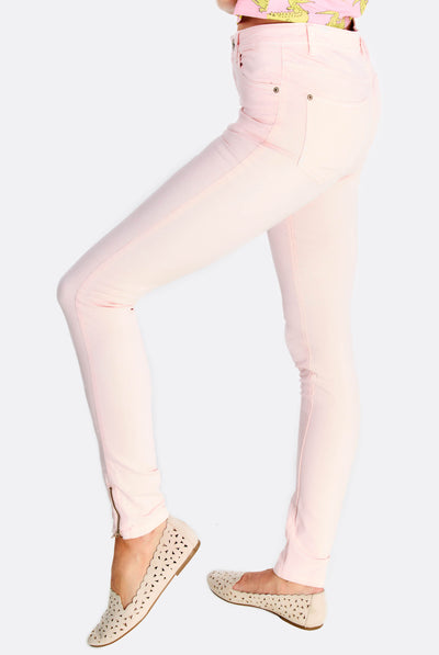 Pastel Pink Trousers With Cotton