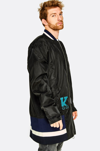 Long Black Bomber Jacket With Patch