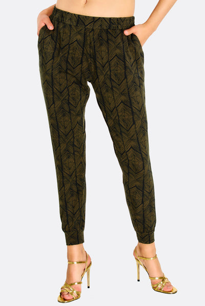 Military Green Patterned Trousers