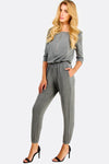 Grey Jumpsuit With Elastic Waist