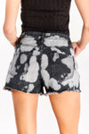 Black Faded Denim Shorts