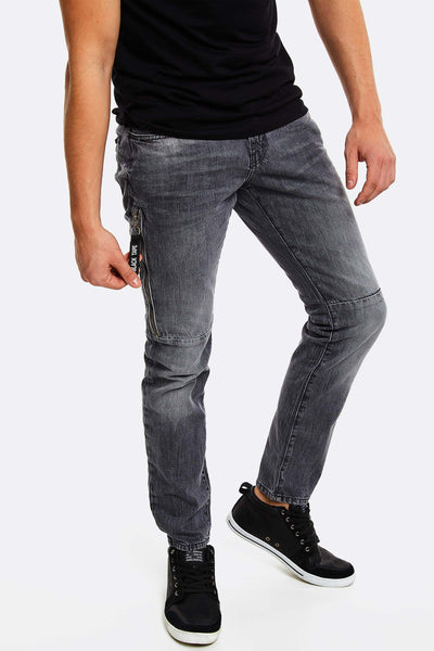 Grey Jeans With Faded Aspect