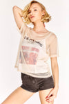 Nude Slogan Sheer T-Shirt