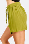 Green Shorts With Elastic Waist
