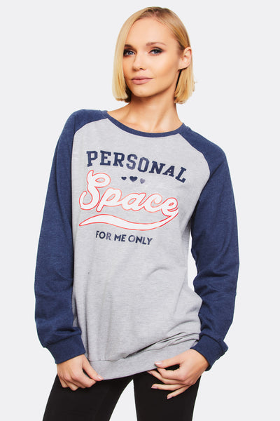 Light Grey Cotton Sweatshirt With Text Print