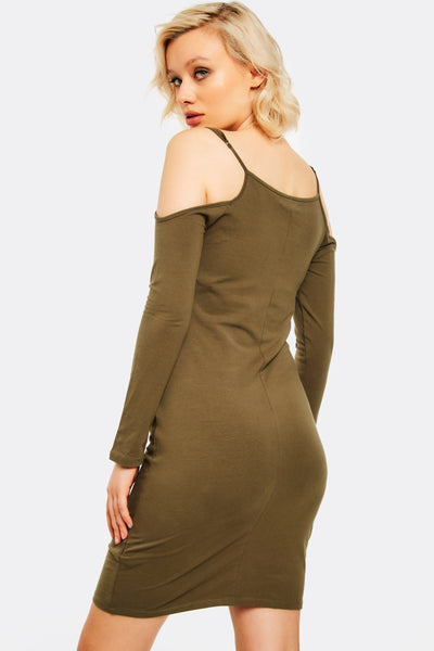 Military Green Dress With Shoulder Cutouts