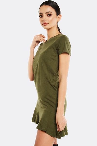 Military Green Dress With Short Sleeves