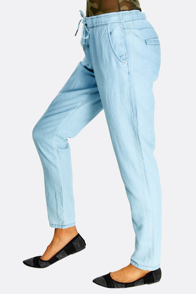 Pale Blue Jeans With Drawstring Through Waist