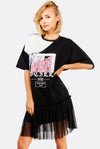 Black Printed Dress With Mesh Hem