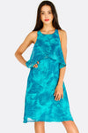 Turquoise Leaf Printed Dress