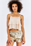 Nude Double Layer Crop Top
