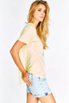 Light Yellow Cotton T-Shirt With Print