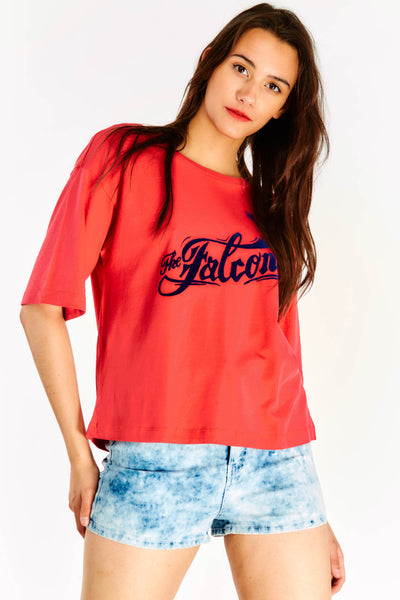 Red Oversized T-shirt With Slogan