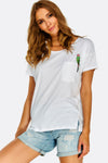 White Cotton T-Shirt With Chest Embroidery