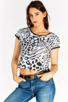 Black And White Print Crop Top