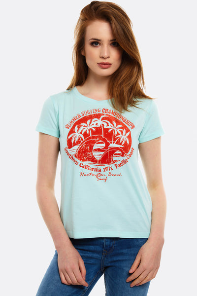 Pale Turquoise Printed T-Shirt