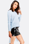 Pale Blue Asymmetric Blouse
