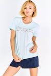 Pale Green Cotton T-Shirt With Embroidered Text