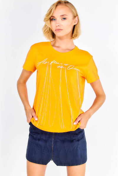 Orange Cotton T-Shirt With Embroidered Text