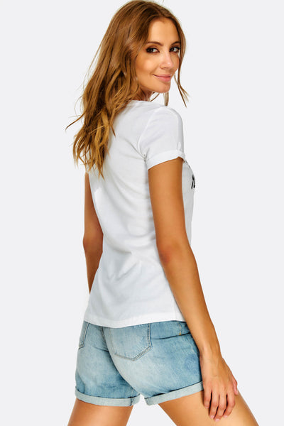 White Cotton T-Shirt With Text Print