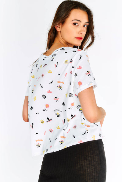 White Cotton T-Shirt With Prints