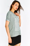 Light Grey Cotton T-Shirt With Print