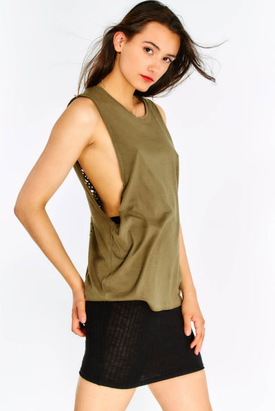 Khaki Top With Perforated Back