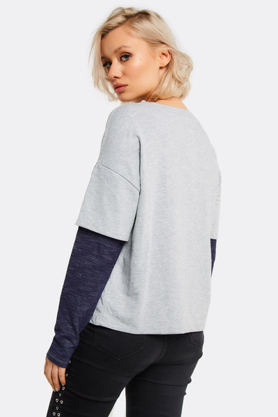 Light Grey Blouse With 2In1 Design
