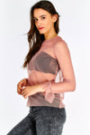 Pink Mesh Blouse With Pattern