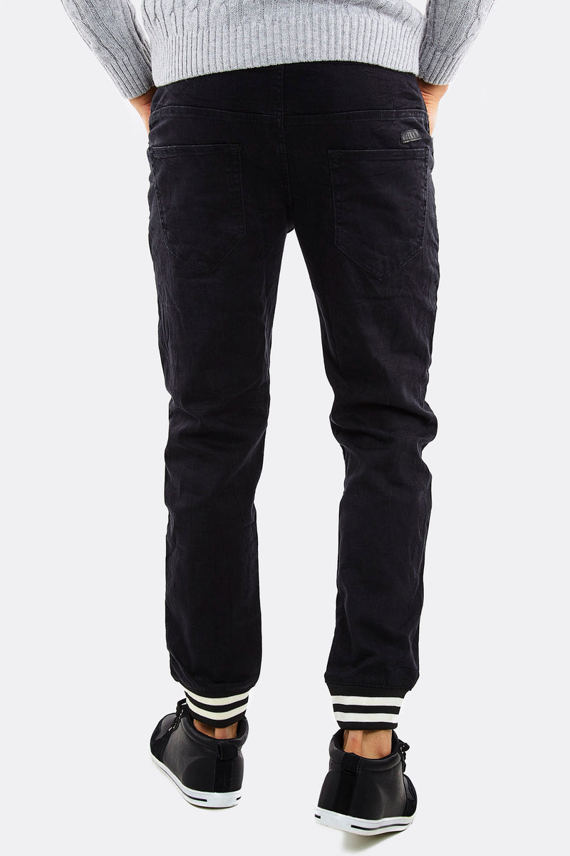 black mens jeans with white stripes