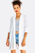 White Striped Open Front Cardigan
