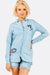 Light Blue Shirt With Print And Embroideries
