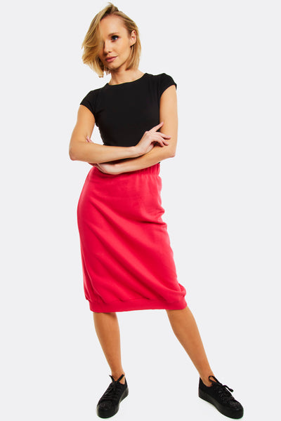 Pink Casual Midi Skirt