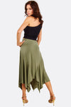 Khaki Mixed Hem Skirt